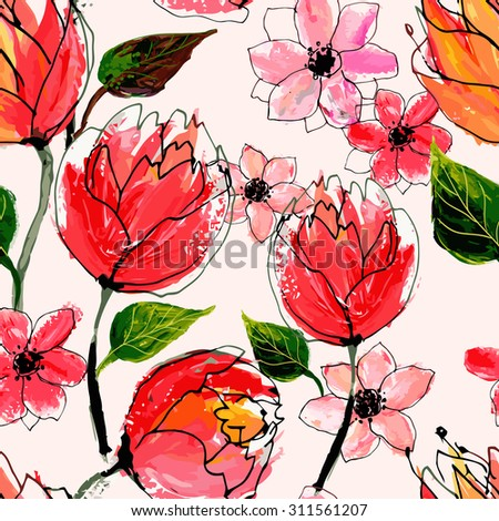 Seamless floral pattern. Watercolor hand drawn illustration. - stock photo