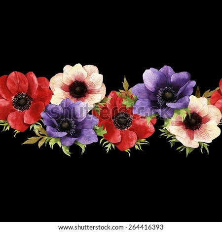 Seamless floral pattern with anemone, watercolor.   - stock photo