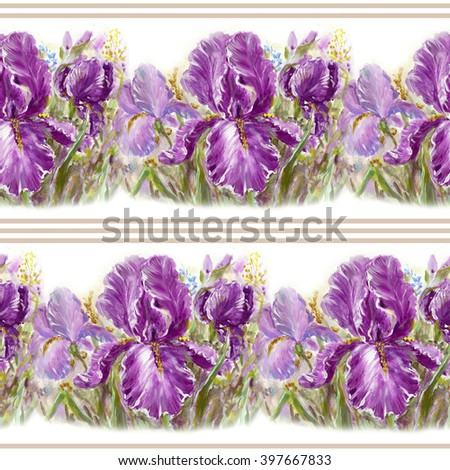 Seamless floral pattern with beautiful hand painting Irises flowers - stock photo