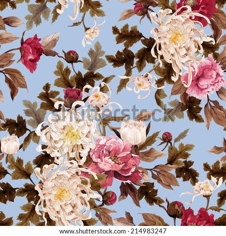 Seamless floral pattern with chrysanthemum and peonies on light background, watercolor - stock photo