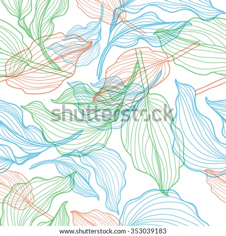 Seamless floral pattern with colorful flowers in lines - stock photo