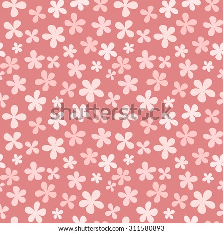 Seamless floral pattern with cute simple flowers. illustration - stock photo