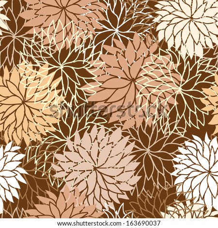 Seamless floral pattern with flowers of chrysanthemum. Raster version - stock photo