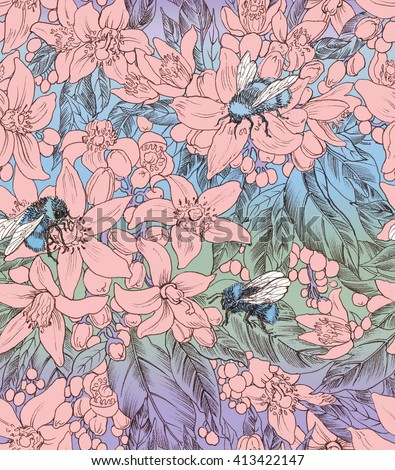 Seamless floral pattern with flowers of orange.Hand panting. Raster illustration - stock photo