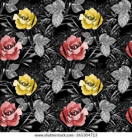Seamless floral pattern with of red and yellow roses on black background, watercolor illustration - stock photo