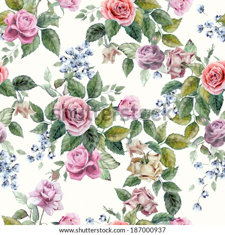 Seamless floral pattern with of red, purple and pink roses on light background, watercolor. - stock photo