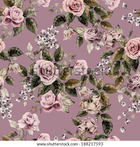 Seamless floral pattern with of roses on purple background, watercolor. - stock photo