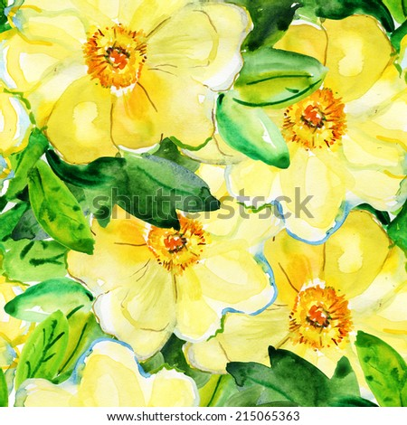 Seamless floral pattern with of yellow roses. - stock photo