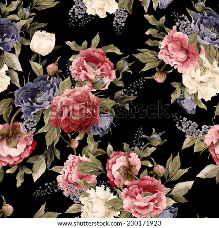Seamless floral pattern with peonies and delphinium, watercolor  - stock photo