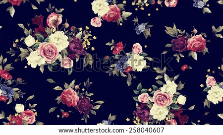 Seamless floral pattern with peonies, watercolor.  - stock photo