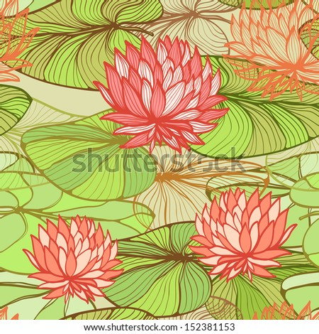 Seamless floral pattern with pink water lilias. Raster version of the vector image - stock photo
