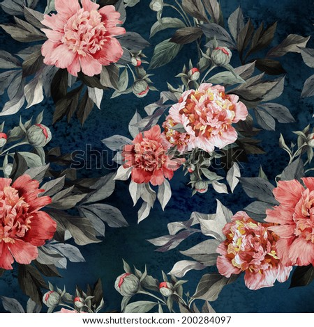 Seamless floral pattern with red and pink roses and peonies on watercolor background. - stock photo