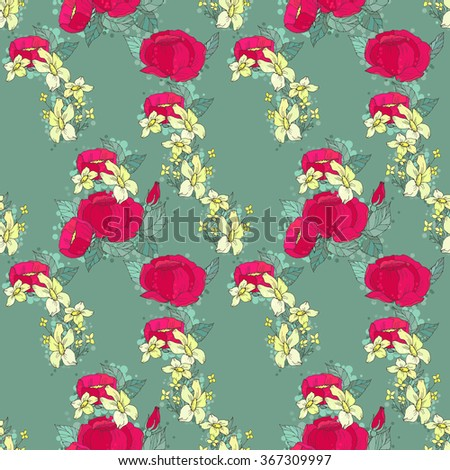 Seamless floral pattern with red and yellow flowers. Floral background - stock photo