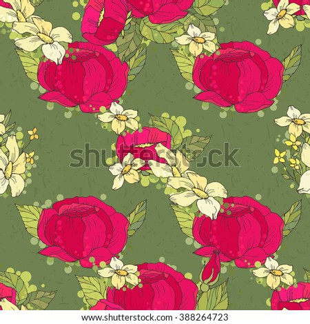 Seamless floral pattern with red and yellow flowers on green background. - stock photo