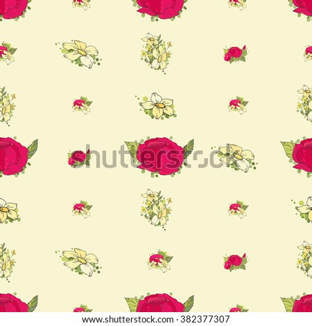 Seamless floral pattern with red  and yellow flowers on light background - stock photo