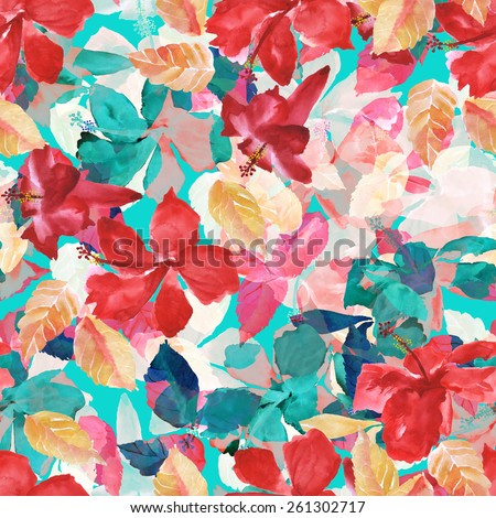 seamless floral pattern with red, green, yellow flowers, watercolor hibiscus illustration plants on a white background, yellow foliage and red flowers, positive tropical pattern - stock photo