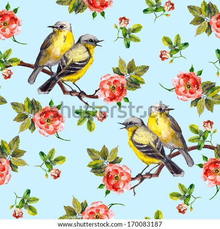Seamless floral pattern with rose flowers and birds - stock photo