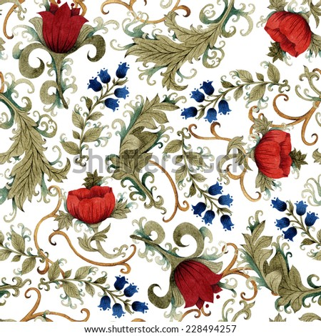 Seamless floral pattern with roses and bells, watercolor.  - stock photo