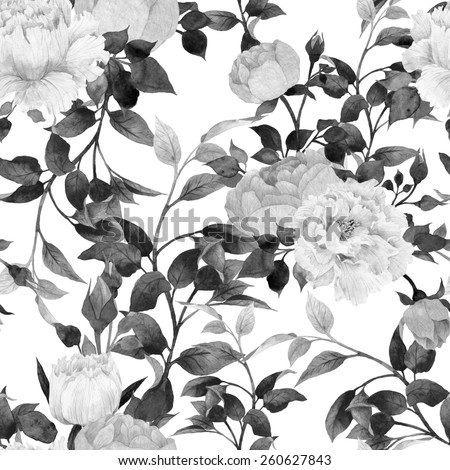 Seamless floral pattern with  roses, watercolor  - stock photo