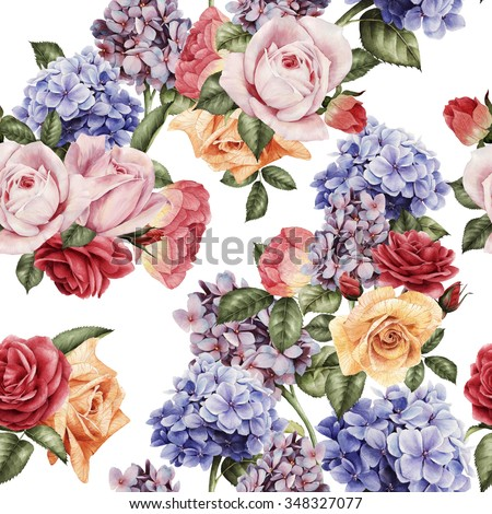 Seamless floral pattern with roses, watercolor. Vector illustration.  - stock photo