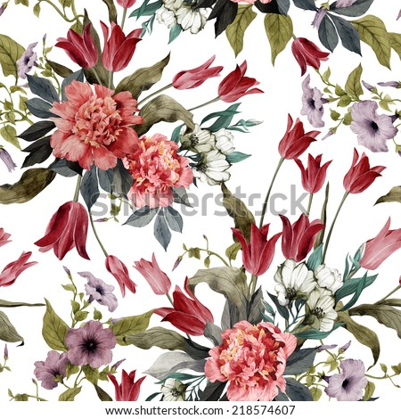 Seamless floral pattern with tulips and peonies on light background, watercolor - stock photo