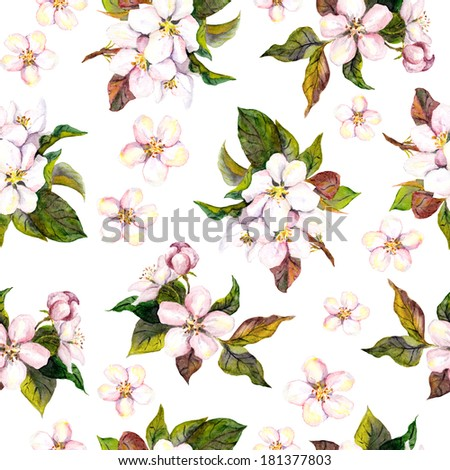 Seamless floral pattern with watercolour drawing - pink apple and cherry flower blossom on white background - stock photo