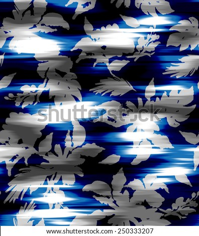 seamless floral print. Flowers silhouette on a beautiful ikat background. elegant textile design. - stock photo