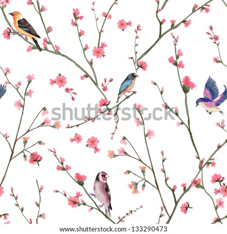 seamless flowers pattern on light beige background, oriental pattern for high fashion design,watercolor floral background - stock photo