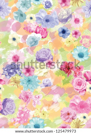 seamless flowers pattern,watercolor trend drawings for fashion design,apparel and textile,wrapping .floral pattern - stock photo