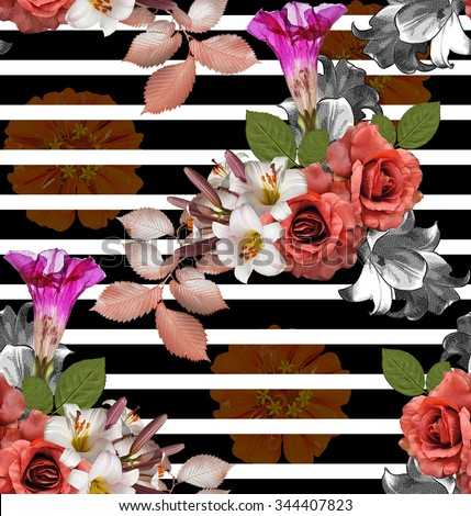 Seamless flowers with striped; roses with lily and zinnia on black background, mixed vintage - stock photo