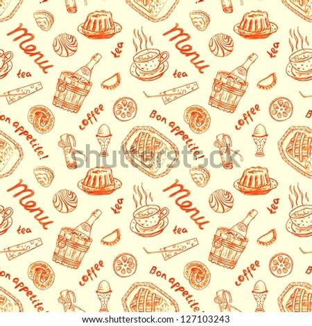 Seamless food yellow background - stock photo