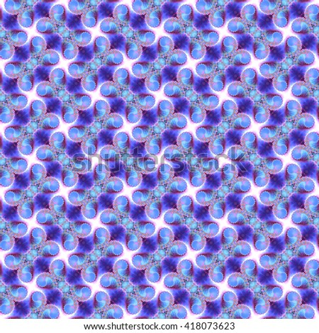 Seamless fractal pattern, blue. Abstract bright wall-paper, a print for fabric, decorative textiles, packing paper, etc. - stock photo