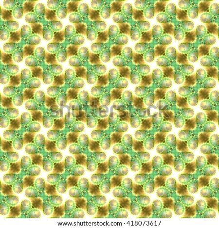 Seamless fractal pattern, green and sand. Abstract bright wall-paper, a print for fabric, decorative textiles, packing paper, etc. - stock photo