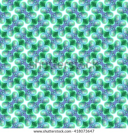 Seamless fractal pattern, turquoise. Abstract bright wall-paper, a print for fabric, decorative textiles, packing paper, etc. - stock photo