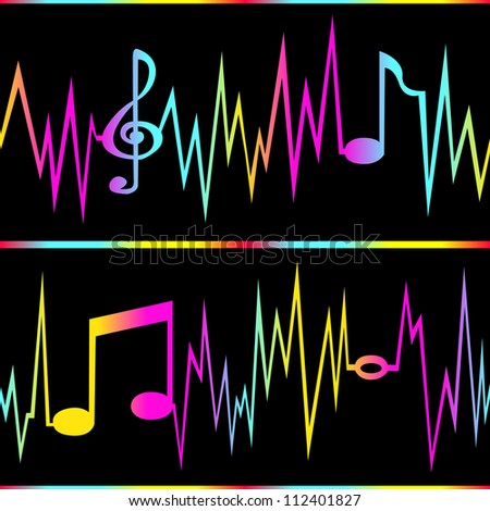 Seamless frequency lines forming musical notes. - stock photo