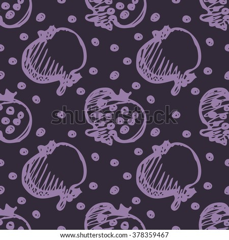 Seamless fruits raster pattern, bright background with close up pomegranates on the dark blue backdrop. Hand sketch drawing. Series of Fruits and Hand Drawn Patterns. - stock photo