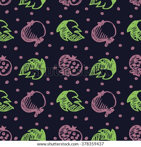 Seamless fruits raster pattern, bright background with pomegranates and leaves on the dark blue backdrop. Hand sketch drawing. Series of Fruits and Hand Drawn Patterns. - stock photo