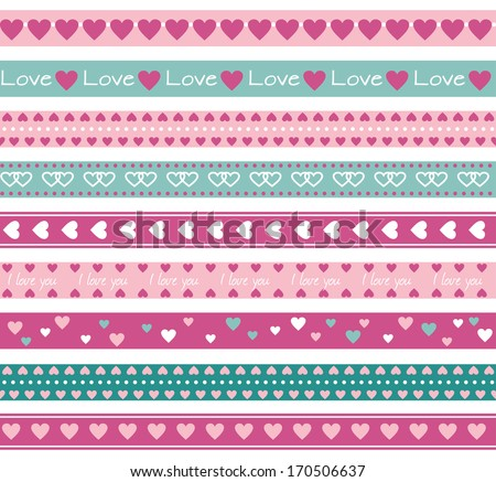 Seamless funny borders with hearts. Raster version - stock photo