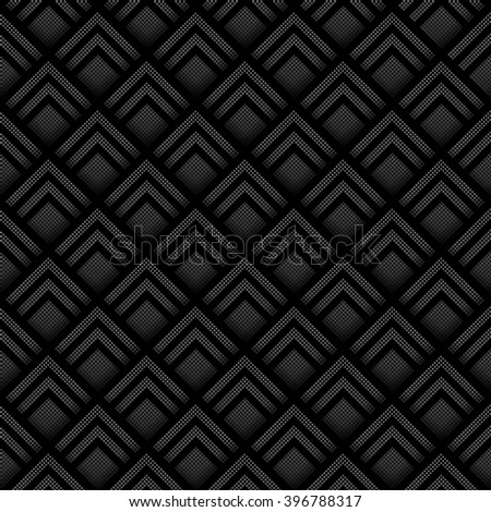Seamless geometric background made from black and white halftone squares, layered to give a three dimensional effect.  - stock photo