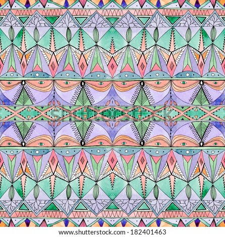 Seamless geometric pattern in hipster style. Tribal ethnic texture. Raster illustration hand drawn. - stock photo