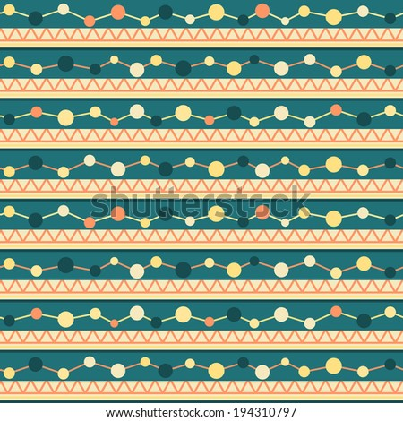 Seamless geometric pattern with lines, zigzag and circles - stock photo