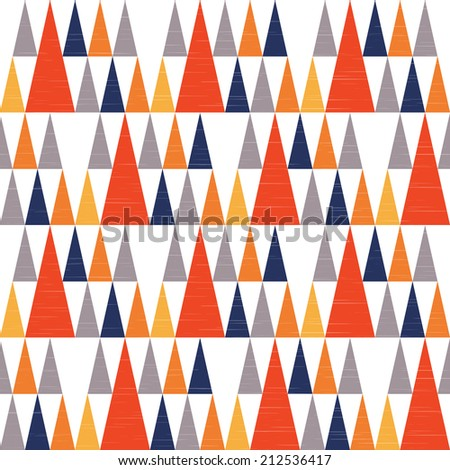 Seamless geometric tribal background in orange gray and navy blue with triangle teepees pattern and grunge texture. Raster version. - stock photo