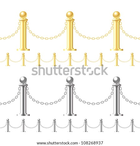 Seamless gold fence and steel fence isolated on white - stock photo