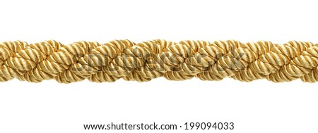 Seamless gold rope isolated on white background - stock photo