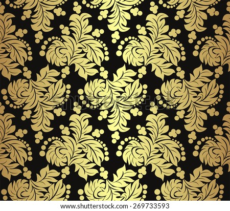 Seamless golden floral Pattern on black. Raster version - stock photo