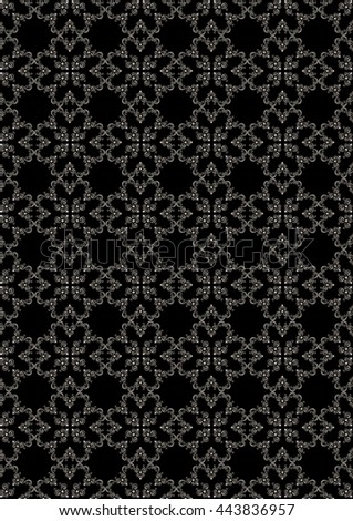 Seamless graceful silver floral pattern on black background - stock photo