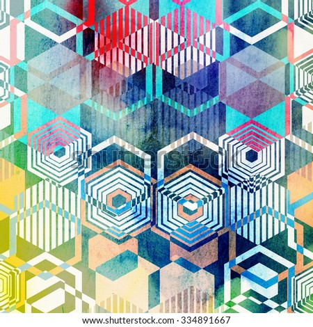 Seamless graphic pattern of repeating geometric polygons - stock photo