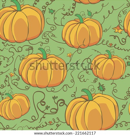 seamless green pattern with pumpkins, for textile and other/ - stock photo