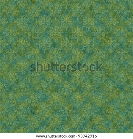 Seamless Green & Teal Damask Background - stock photo