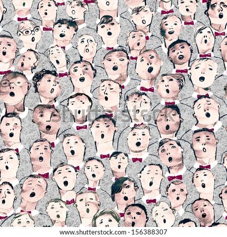 Seamless hand drawn boys choir illustration - stock photo